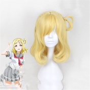 Middle Long Yellow Wigs Synthetic Glueless Wavy High Temperature Fibre Wvg Pelo for Women
