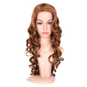 Black Rose Special Offer Long Wavy Wig Heat Resistant Curly Wavy Cosplay Costume Wigs Glamorous Full Hair Wigs Dark Brown Colour