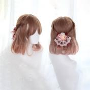 Synthetic Ombre Wigs Brown T Blonde Bob Medium length Wavy Hair Heat Resistant Fibre Cosplay Wig