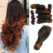 Mink Hair Brazilian Ombre Spring Curl Hair with Closure (14 16 18 20 + 12) Grade 8A Virgin Spring Curly Hair Extension with 4X4 Free Part Lace Closure 100g/bundle Two Tone Ombre Colour 1b/4#