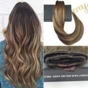 Sunny 41cm Ombre Clip in Hair Extensions Human Hair with 5 clips Balayage colour Ombre Mixed Brown 70g One Piece Extensions 70G Per Pack