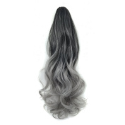 60cm 140g Curly Wave Synthetic Clip in Claw Ponytail Hair Extension Two Tone Ombre (Black to Grey) Colour Hairpiece