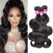 XCCOCO Hair 9A Grade Body Wave Hair 4 Bundles Brazilian Remy Unprocessed Human Hair Extensions Weave Natural Black Colour