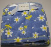 Cutie Pie Baby Blue Daisy Blanket 80cm x 90cm