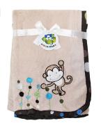Beige Microbfiber Baby Blanket, Monkey Design