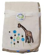 Beige Microfiber Baby Blanket, Giraffe Design