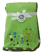 Green Microfiber Baby Blanket, Embroidery Frog Design
