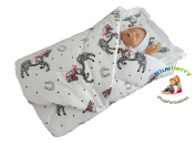 BlueberryShop Classic with Pillow Swaddle Wrap Blanket Sleeping Bag for Newborn baby shower GIFT 100% Cotton 0-3m ( 0-3m ) ( 78 x 78 cm ) White Horse