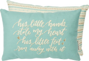 "Baby Boy ""His Little Hands"" Baby Blue Nursery Pillow"