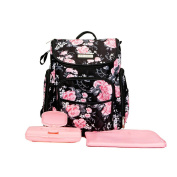 Laura Ashley 4 in 1 Floral Zip Around Backpack Nappy Bag Black