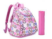 LCY Smart Cute Backpack Nappy Bag With Stroller Straps & Changing Pad Monkey Pink