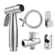 Bidet Sprayer,Cloth Nappy Sprayer Premium Stainless Steel Bathroom Handheld Bidet Shattaf Sprayer,For Personal Hygiene & Cleaning Care with T-adapter and Hose