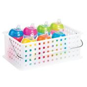 mDesign Baby Nursery Organiser Tote Basket for Nappies, Wipes, Towels - Medium, White