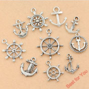 10 Piece Anchor ThemeAnchor Charm Mixed Tibetan Silver Tone Rudder Fashion Pendants Jewellery Diy Jewellery Making