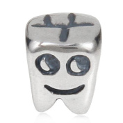 I Love My Tooth Charm 925 Sterling Silver Smile Face Beads Fit European Bracelets