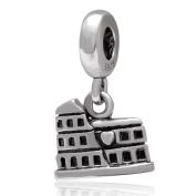 Roman Colosseum Charm 925 Sterling Silver Famous Building Charm Travel Charm Dangle Charm for Pandora Bracelet