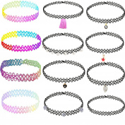 12 pieces choker set-TOP recommend cheap cute sexy charm pack choker necklace for girls and women