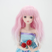 Wigs Only! Soft Pink Purple Blend Water Wavy Doll Hair Wig for 1/3 BJD Dolls with 23cm - 25cm Head Heat Resistant Fibre Can Self-Style