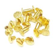 Set of 10, 1cm Engraved Floral Solid Brass Gold Chicago Screws Fastener