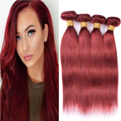 Black Rose Hair Virgin Brazilian Hair Straight 4 Bundles 100% Human Hair Weave 7A Grade Unprocessed Remy Brazilian Silky Straight Hair Extensions Colour #33, 14 16 18 50cm