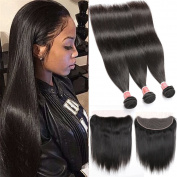Pizazz Brazilian Straight Hair 3 Bundles with 13x 4 Ear To Ear Lace Frontal Closure Free Part 100% Unprocessed Human Hair Weave