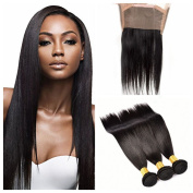 Worldflying 3 Bundles Brazilian Straight Human Hair Extension with 360 Lace Frontal Closure 100% Virgin Human Hair Extensions Natural Colour for Black Women