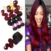 """Top Hair Brazilian Body Remy Hair Black To Red Wine Colour Ombre Two Tone 3 Bundles With 4""""X4"""" Invisible Lace Closure Virgin Remy Hair And Body Wave Virgin Hair Bundles"""