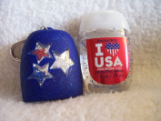 Bath and Body Work Blue Pocketbac Holder w/Red, White and Blue Stars and I Heart USA Anti-Bacterial Hand Gel Set
