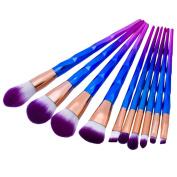 Rosabeauty New Arrival 10pcs Makeup Brushes Set Diamond Rainbow Handle Cosmetic Foundation Blusher Powder Blending Brush beauty tools kits