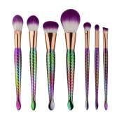 TRAXANDCO 7Pcs Mermaid MakeUp Brushes Set Eyebrow Eyeliner Blush Foudation Cosmetic Tools