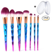 Makeup Brush Set 7PCS Super Soft Professional Foundation Cosmetic Eyeshadow Brush with 2PCS Silicone Makeup Sponge By BEAUTY STAR