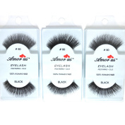 3 Pairs AmorUs Black 100% Human Hair False Long Eyelashes #80 + FREE EARRING