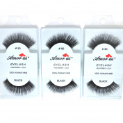 3 Pairs AmorUs Black 100% Human Hair False Long Eyelashes #80 + FREE EARRING