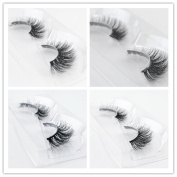 Set of 4 Mink Eyelashes Criss Cross Lashes Natural Looking 3D Fake Lashes