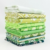 Green Fat Quarter Bundle (10 pcs) - Mixed Designers - Southern Fabric 9 x 43 inches (22.86cm x 109.22cm) DIY quilt fabric