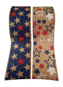 Wired Burlap Jute Ribbon with Stars and Stripes 4th of July American Flag Print - 2 Rolls - Each Roll 2.5 Wide by 4.6m Long