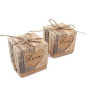 Tuliptown 50pcs Candy Boxes Gift Bag for Wedding Gift Box Vintage Kraft Box
