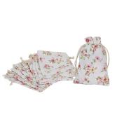 Shintop Drawstring Linen Bags - Burlap Drawstring Bags Wedding Gift Bags Jewellery Candy Pouch Bags 10pcs