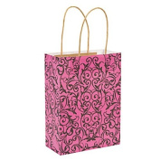 Hot Pink and Black Vine Scroll 23cm Tall Kraft Gift Bags with Jute Handles ~ Bridal Shower Bachelorette Party