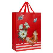 Elegant Designed Rose Red Floral Butterfly Medium Gift Bag's 33cm x 24cm x 10cm | 12-Pack