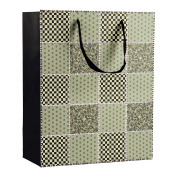 Intricate Designed Sage Green Chequered Quilt Print Small Gift Bag's 23cm x 18cm x 10cm | 4-Pack