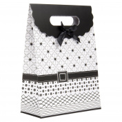 Intricate Designed Medium Black and White Buckle Bow Gift Bag's 27cm x 19cm x 8.9cm | 4-Pack