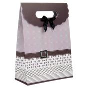 Intricate Designed Medium Mauve Brown Buckle Bow Gift Bag's 27cm x 19cm x 8.9cm | 12-Pack