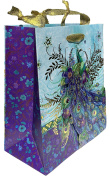 Punch Studio Gold Foil Embellished Medium Gift Bag ~ Blue Blossom Peacock