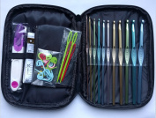 Crochet Kit in Zippered Pouch with 11 hooks, scissor, measuring tape, stitch markers & darning needles