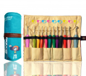 12 Ergonomic Crochet Hooks Set Comfort Soft Rubber Grip Smooth Aluminium Needles for Any Patterns Yarn BONUS Premium Fabric Knitting Needles Roll Case