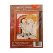 Vintage 1984 Nicole Creations Unicorn and Rainbow Counted Cross Stitch Kit No. 1902
