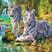 Ukerdo DIY White Tiger Diamond Painting Wall Art Pictures for Living Room