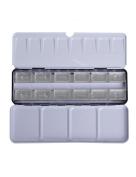 MEEDEN Empty Watercolour Tin Palette Paint Case Metal Box with 12 Transparent Full Pans