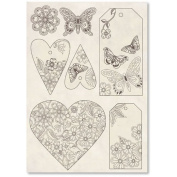 Stamperia Carved Wooden shapes f. To A5 Hearts and closure